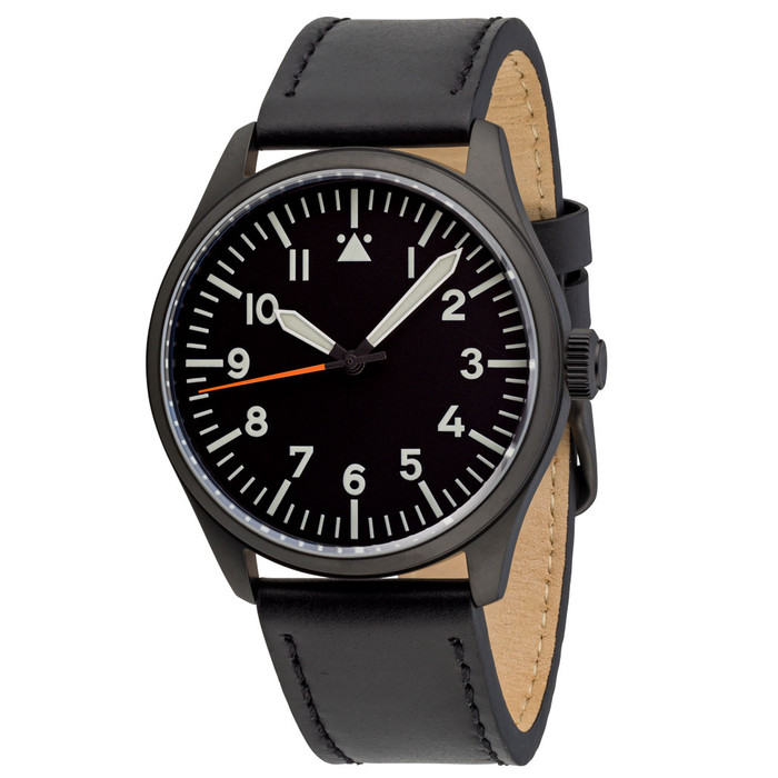 Islander Black DLC Aviator Automatic Watch with Leather Strap and an Anti-Reflective Sapphire Crystal #ISL-46