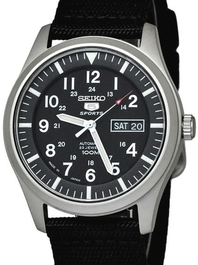 Seiko Military Black Dial Automatic Watch with 42mm Case, Black Canvas Strap #SNZG15J1