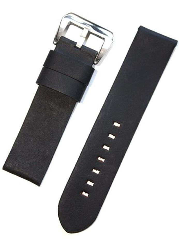 Panerai-Style Italian Vintage Black Leather Watch Strap #DIY-38330