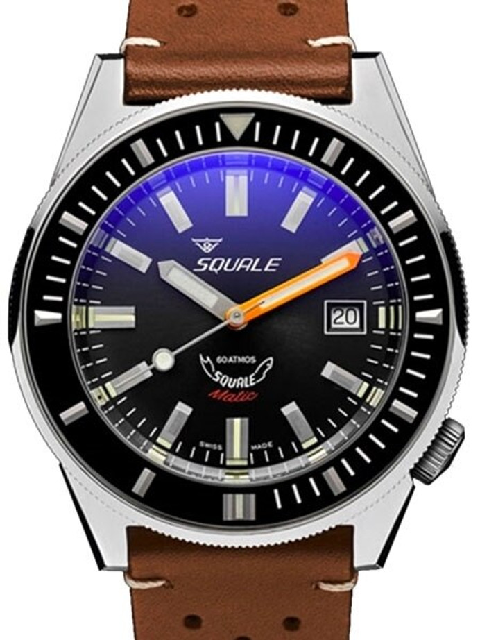 Squale Matic 600 meter Professional Swiss Automatic Dive watch with 44mm Polished Case #Matic-Black-Pol