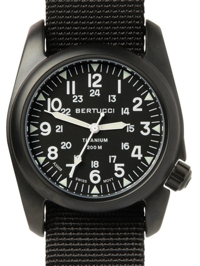 Bertucci A-2T Vintage Black Titanium Watch with Black Nylon Strap #12027