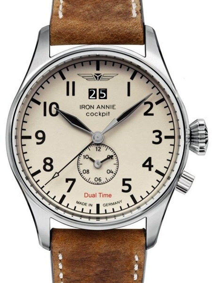 Iron Annie Big Date, Dual Time Pilot Watch with Luminous Dial #5140-5