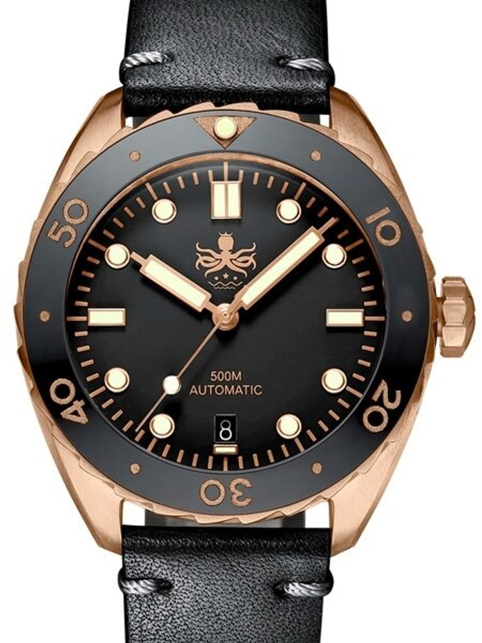 PHOIBOS Eagle Ray 500-Meter Swiss Automatic Dive Watch with Bronze Case, DD AR Sapphire Crystal #PY018D