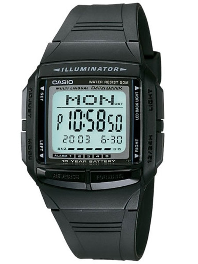 Casio Multi-Liningual Watch with Alarm, Dual Time, Databank and Chronograph #DB-36-1A