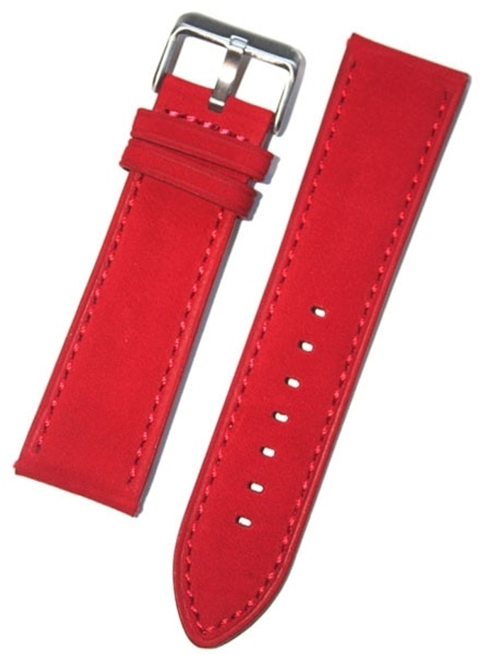 Panerai-Style Red Suede Leather Strap with Matching Stitching #EBV-03850