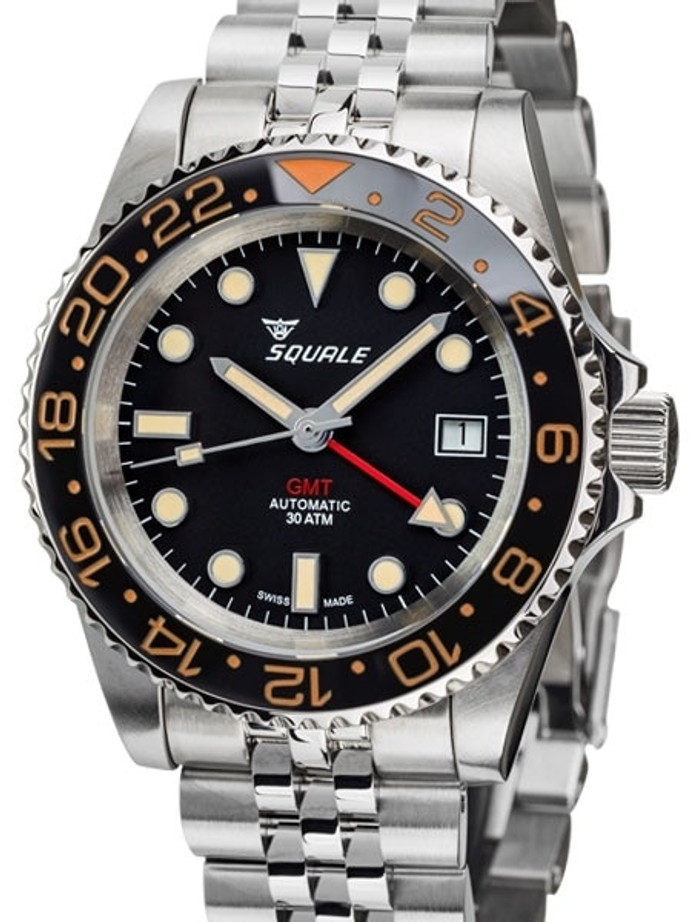 Squale 300 meter Swiss Automatic GMT watch with Ceramic Bezel, AR Sapphire Crystal #1545GM-CER-VIN