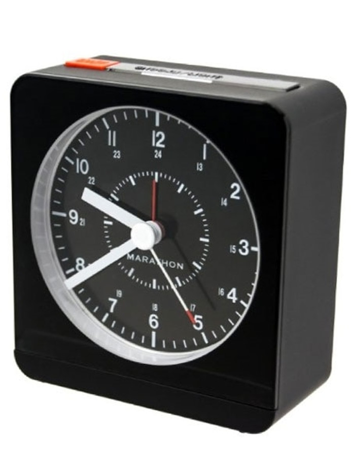 Marathon Alarm Clock with Black Dial, Silent Movement, and Auto-Sensing Night Light #CL030053BK