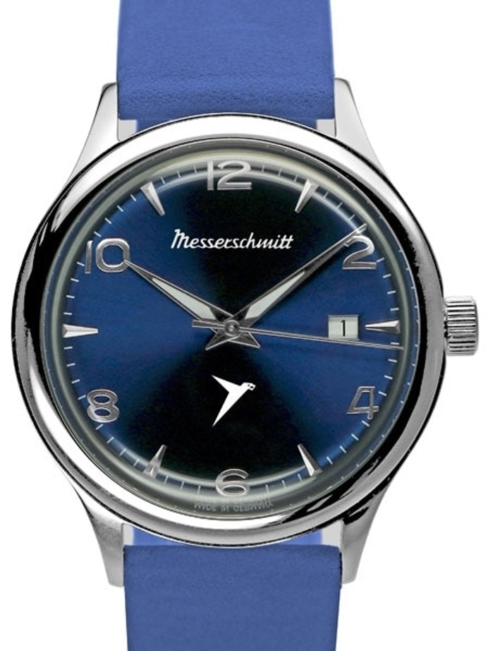 Messerschmitt Radiant Blue Dial Swiss Quartz Watch with Blue Leather Strap #KR500-BB