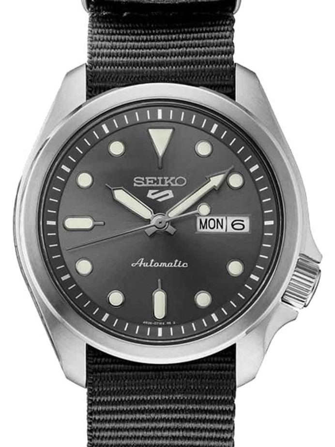 Seiko 5 Sports 24-Jewel Automatic Watch with Grey Dial and Band #SRPE61