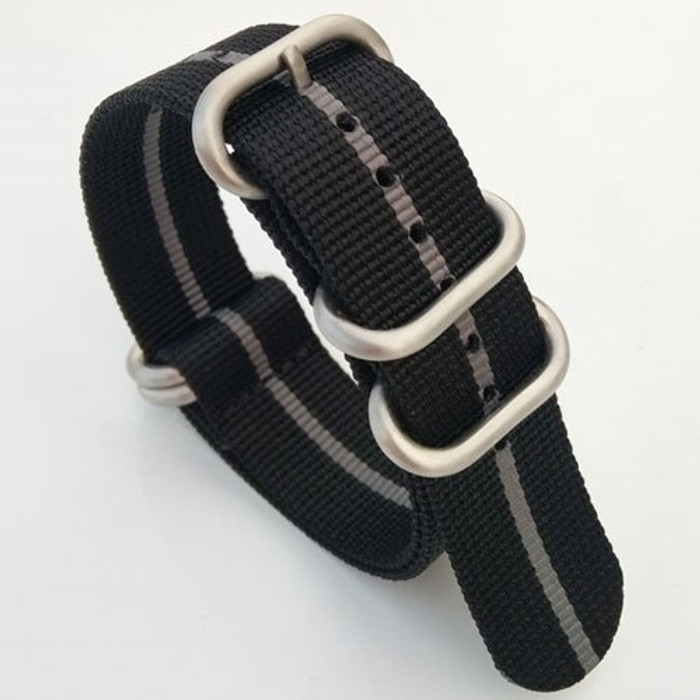 5-Ring NATO-Style Black, Grey Stripe Nylon Strap with Matte Finish Steel Buckle #NATO5R-22-SS