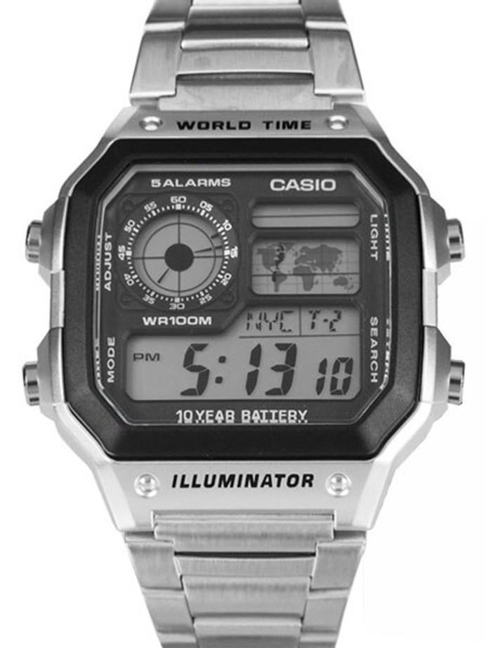 Casio Illuminator World Timel Alarm Watch with 31 Time Zones and Matching Bracelet #AE-1200WHD-1AV