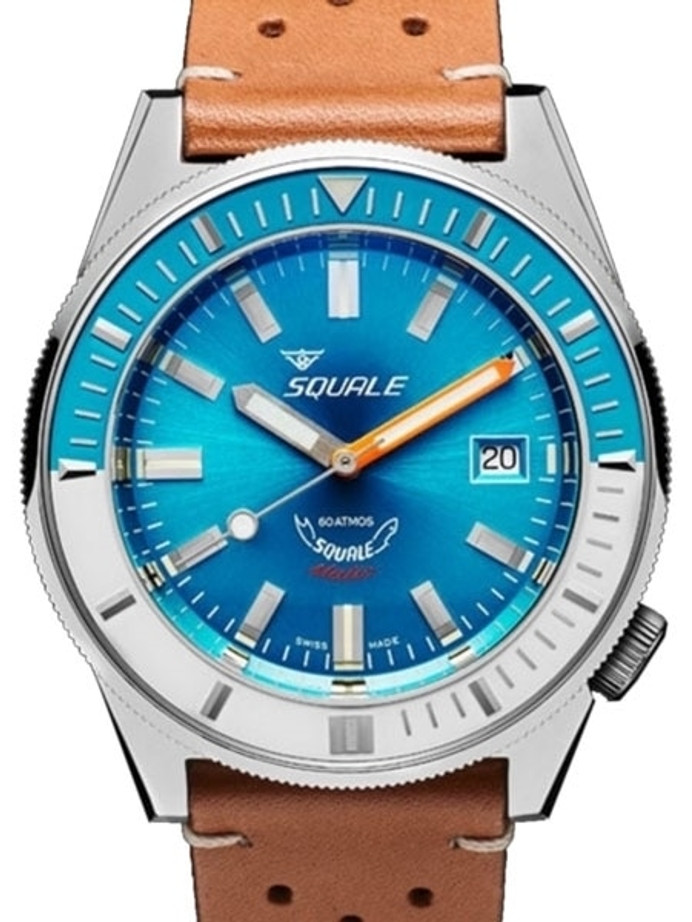 Squale Matic 600 meter Professional Swiss Automatic Dive watch with 44mm Polished Case #Matic-Blue-Pol
