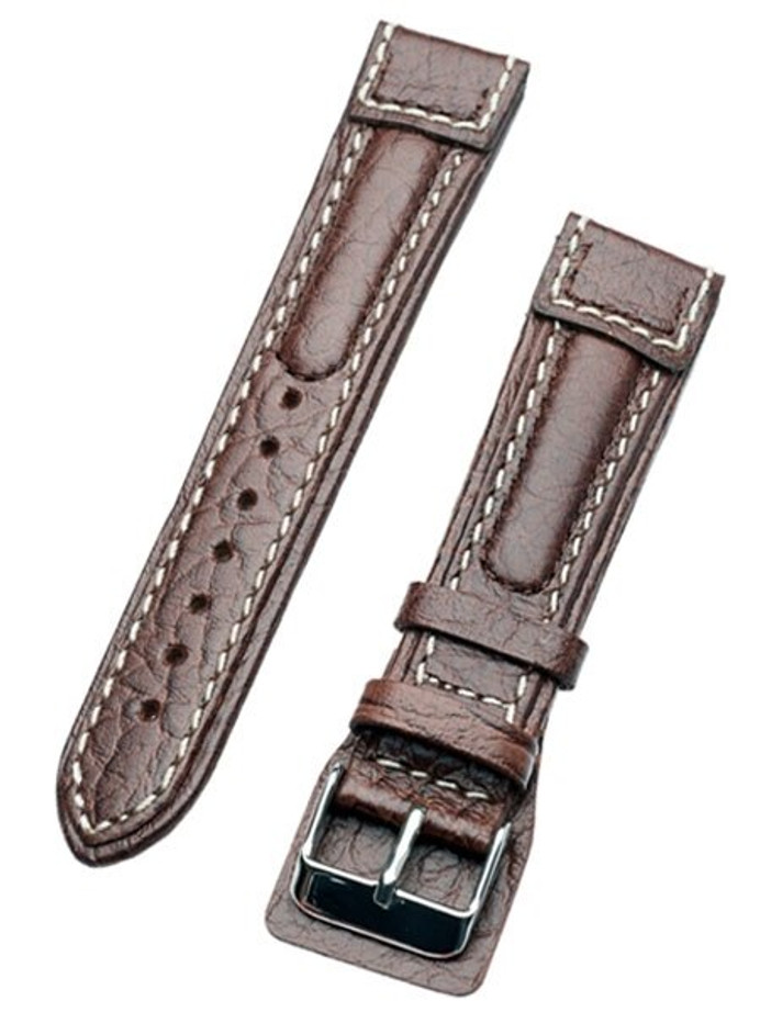 Chronissimo-Style Brown Leather Strap with Heavy Padding #DM-80