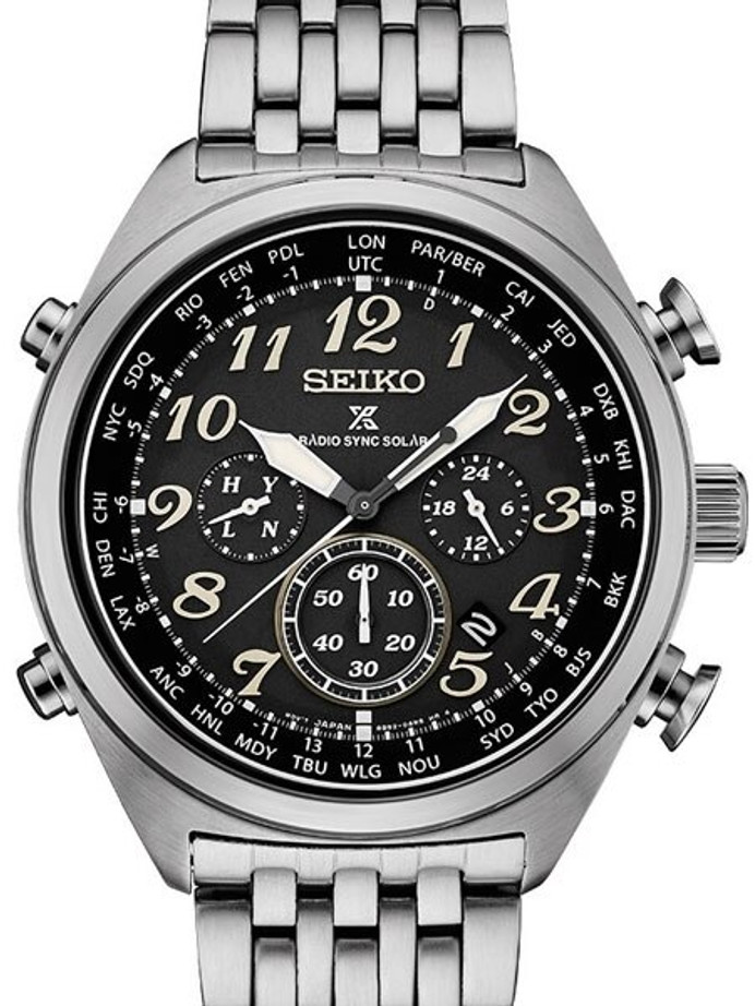 Seiko Prospex Radio Sync, Solar Powered, Chronograph, World Time Watch #SSG017
