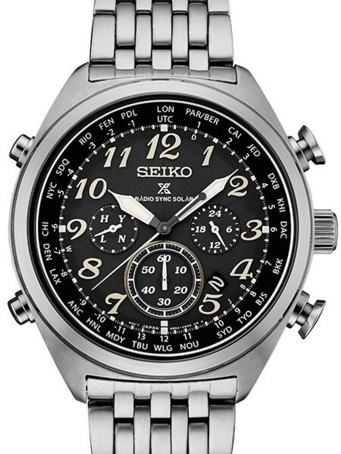 Seiko Prospex Radio Sync, Solar Powered, Chronograph, World Time Watch #SSG017
