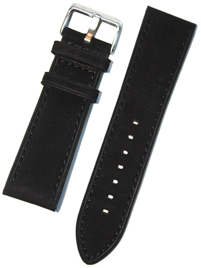 Panerai-Style Black Suede Leather Strap with Matching Stitching #EBV-03830