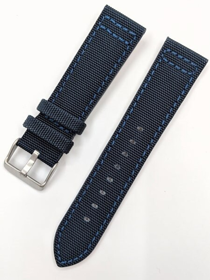Toscana Blue Canvas with Leather Backing Watch Strap #INS-CAN40