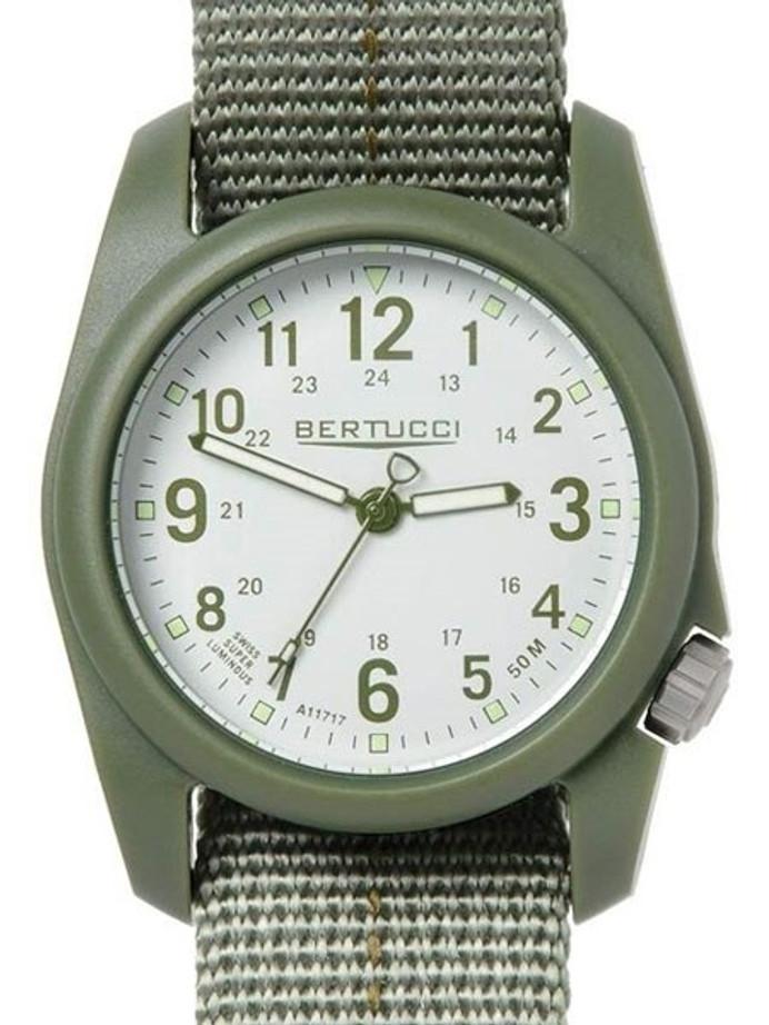 Bertucci DX3 Plus Resin Watch, Dash-Striped Nylon Strap, Off-White Dial #11081