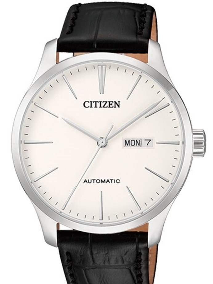 Citizen Automatic White Dial Watch with Black Leather Strap #NH8350-08B