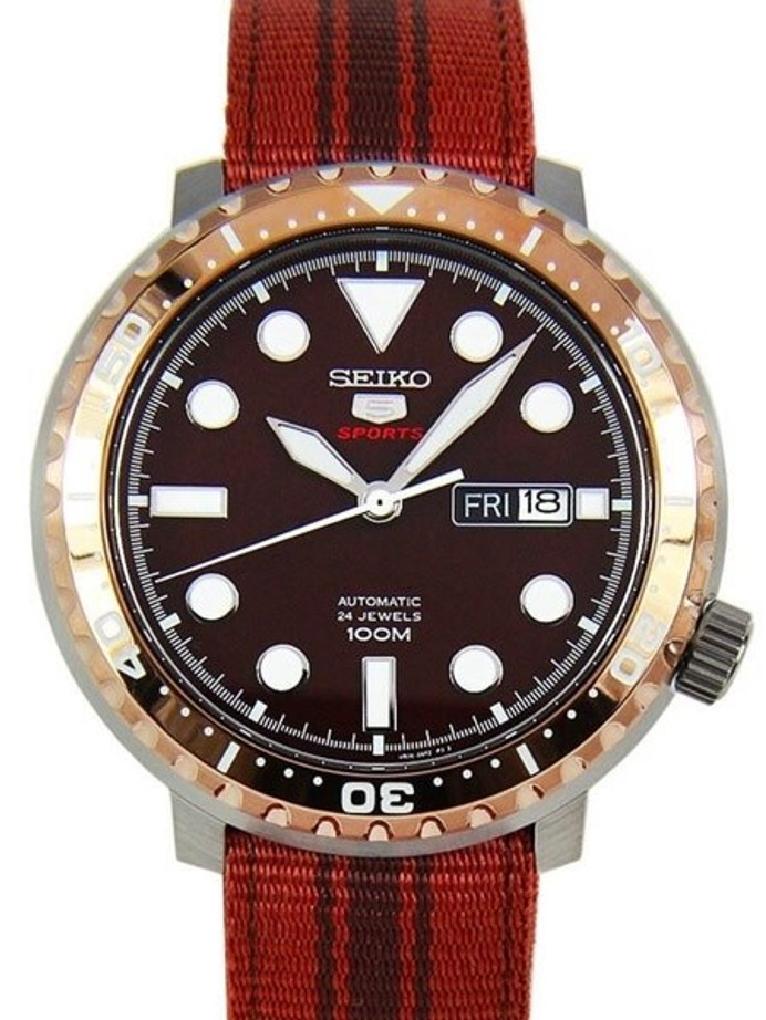 Seiko 5 Sports Automatic 24-Jewel Bottle-Cap, Root Beer Watch #SRPC68K1