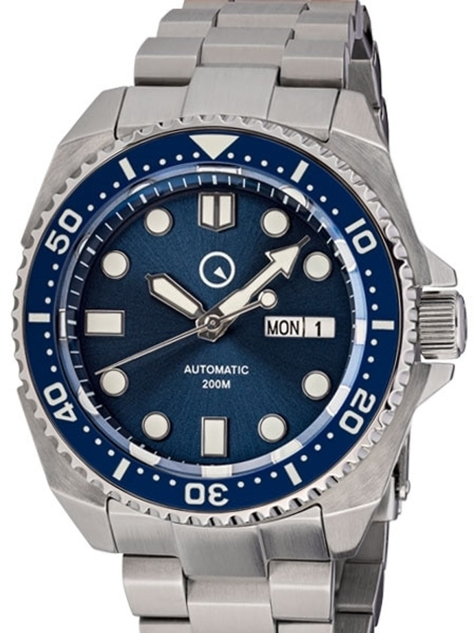 Islander Blue Automatic Dive Watch with AR Double-Dome Sapphire Crystal, and Luminous Ceramic Bezel Insert #ISL-55