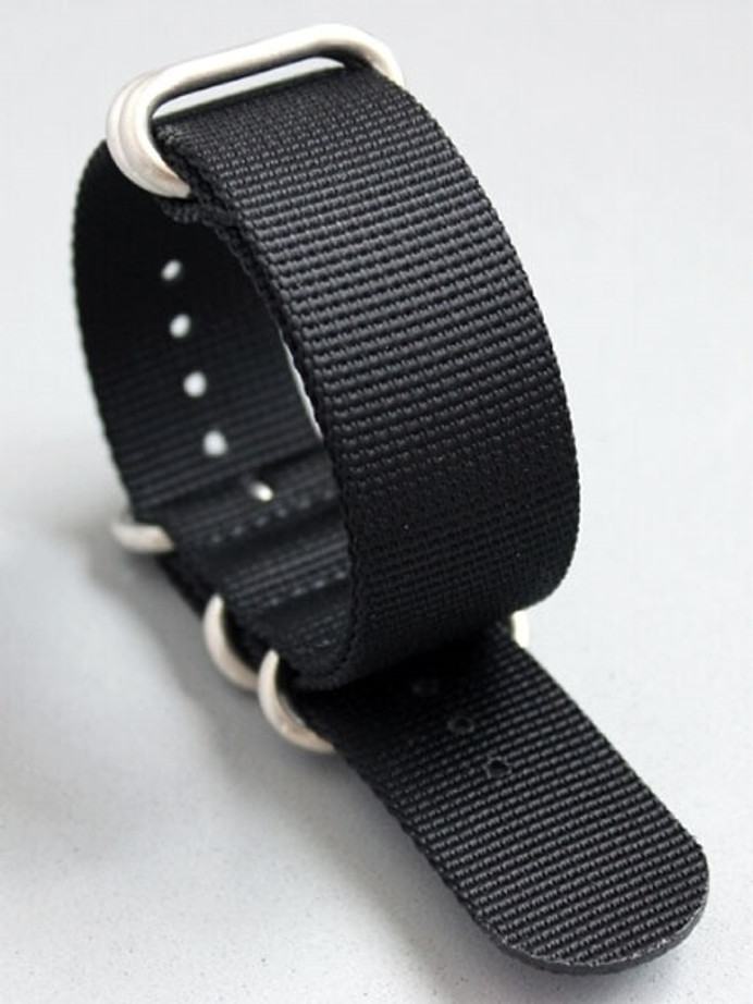 5-Ring NATO-Style Black Nylon Strap with Matte Finish Steel Buckle #NATO5R-10-SS
