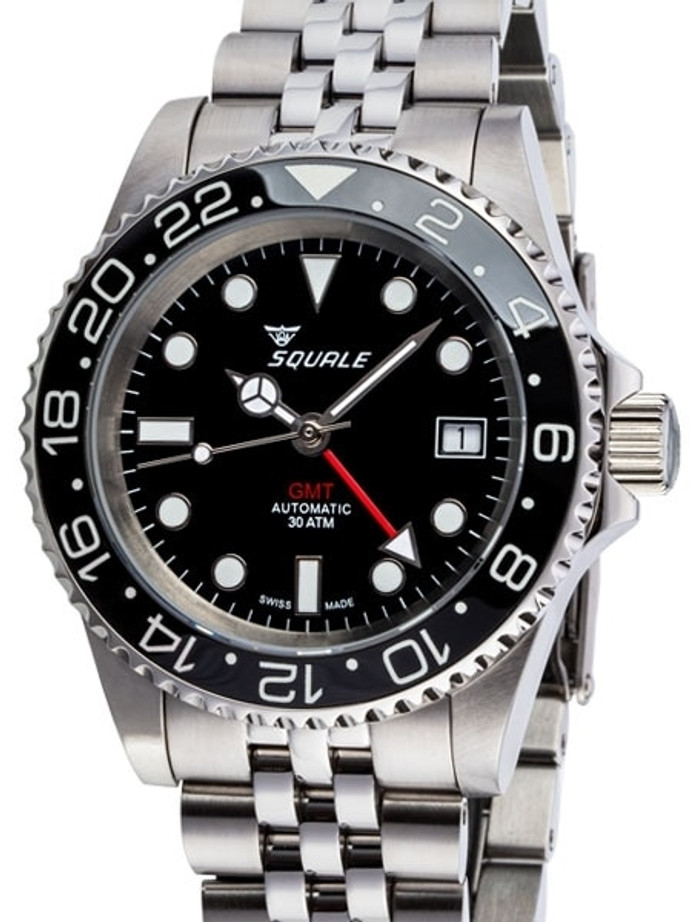 Scratch and Dent - Squale 300 meter Swiss Automatic GMT watch with Luminous Ceramic Bezel, AR Sapphire Crystal #1545GM-CER-BK 3