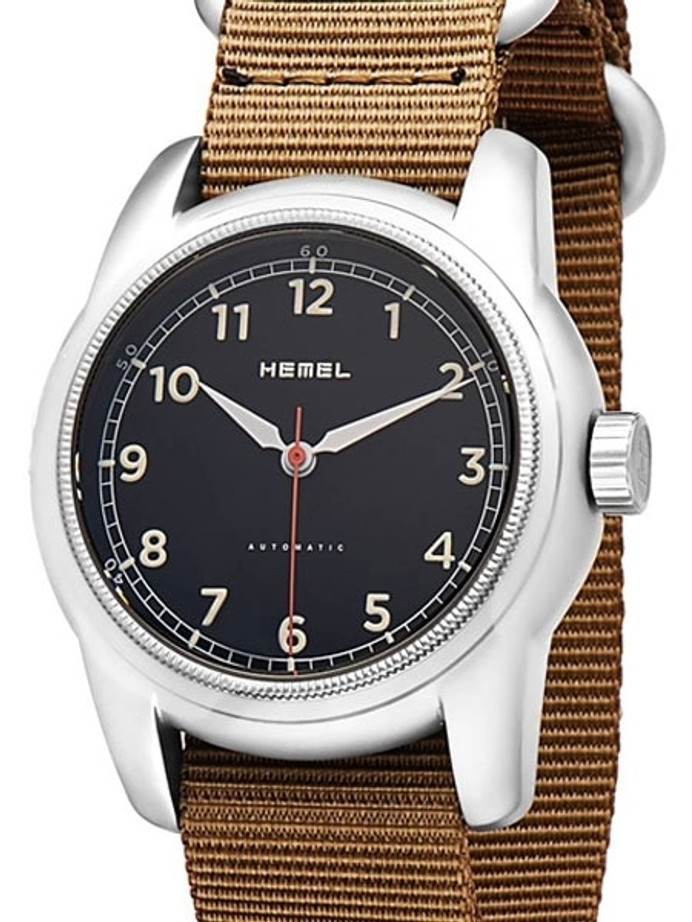 HEMEL Track Automatic Military-Styled Watch with Bead Blasted Case and Sapphire Crystal #HM2B