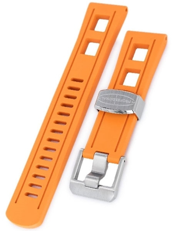 Crafter Blue 22mm Straight-End Rubber Watch Strap #CB01-C