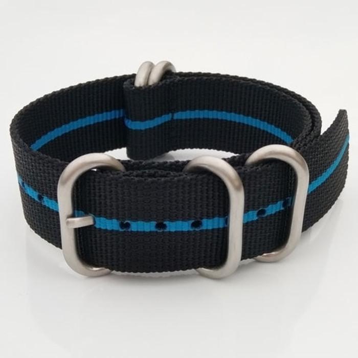 5-Ring NATO-Style Black, Blue Stripe Nylon Strap with Matte Finish Steel Buckle #NATO5R-21-SS