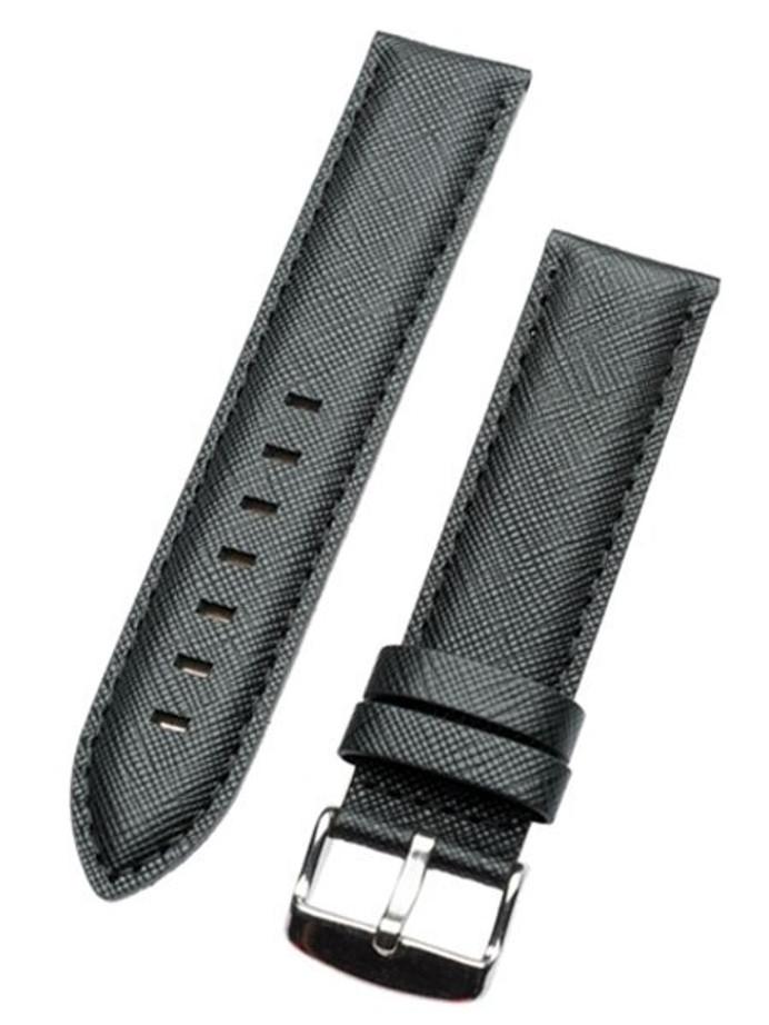 Toscana Saffian Black Leather Strap with Unique Cross-Hatch Texture #SAF-30