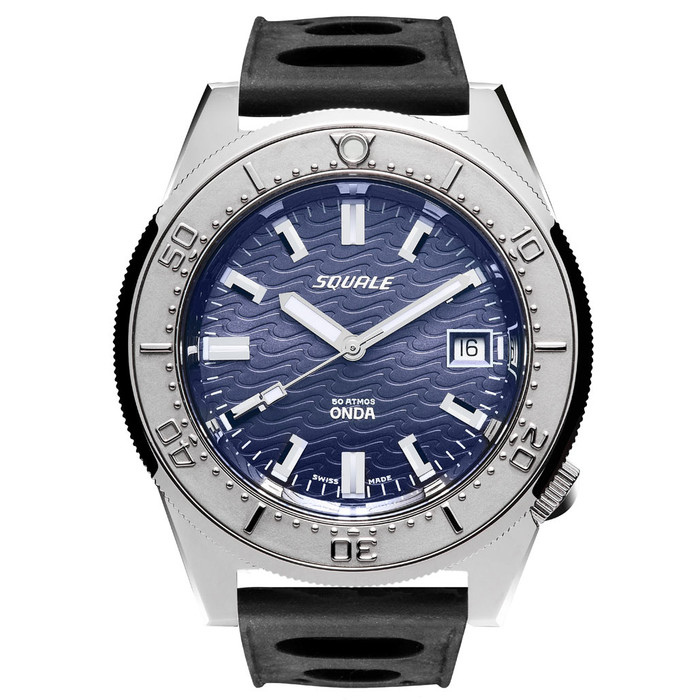 Squale 500 Meter Swiss Made Automatic Dive Watch with Blue Dial  #1521-026-Onda-B