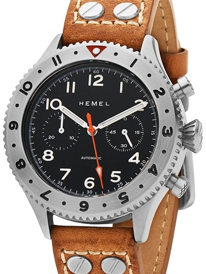 HEMEL 24 Automatic Chronograph Watch with GMT Bezel and Sapphire Crystal #HFT20-NE2