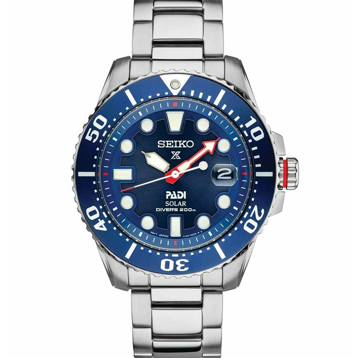 Seiko Special Editon Prospex PADI Solar Dive Watch with Stainless Steel Bracelet #SNE549