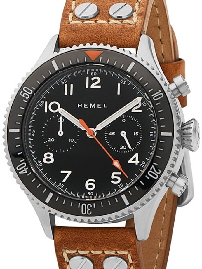 HEMEL 24 Automatic Chronograph Watch with 60-Minute Ceramic Bezel and Sapphire Crystal #HFT20-NE1