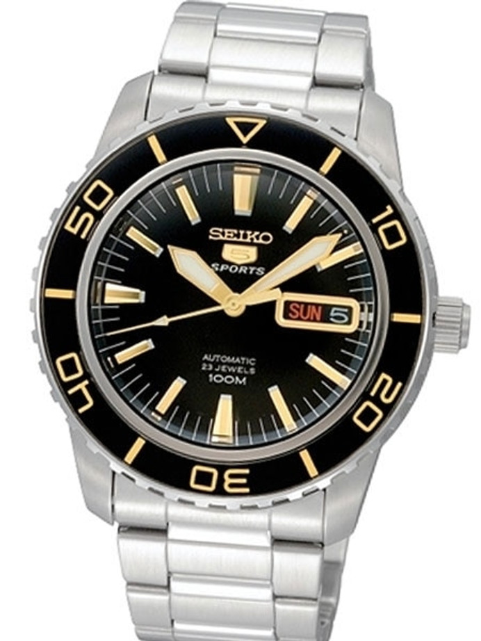 Seiko 41mm Sports 5, 23-Jewel Automatic Watch with Day and Date Window #SNZH57K1