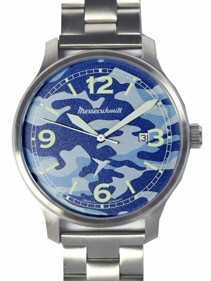 Messerschmitt 42mm Brushed Stainless Steel Case with Blue Messerschmitt Navy Dial #ME-42N-MB