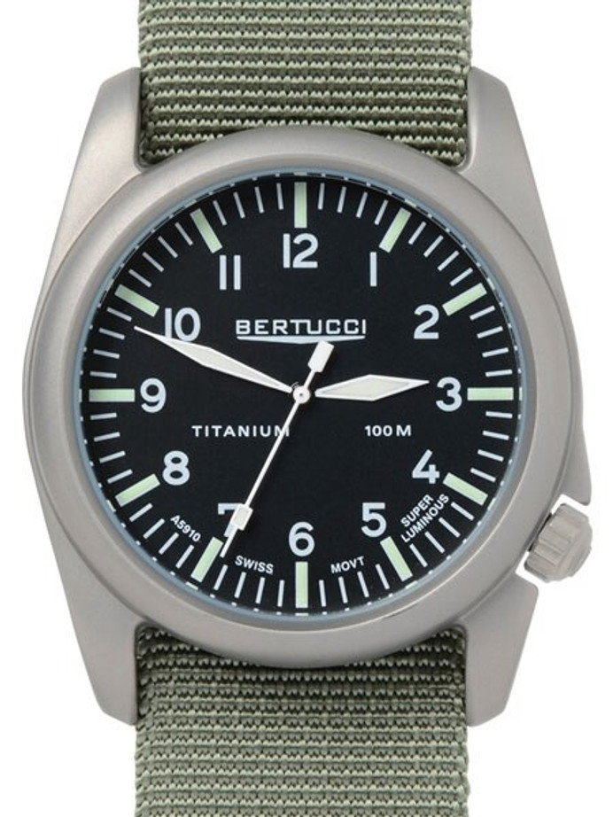 Bertucci A-4T Vintage 44 Titanium Watch with Olive Nylon Strap #13400