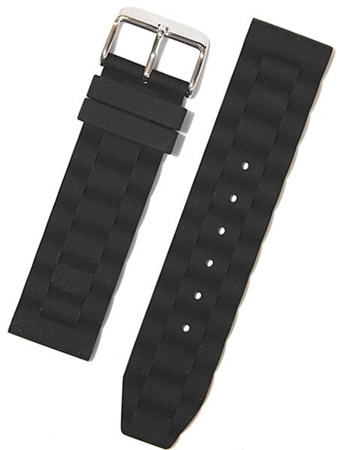 Toscana Black Silicone Rubber Dive Watch Band with Silver Buckle RUB-31-30