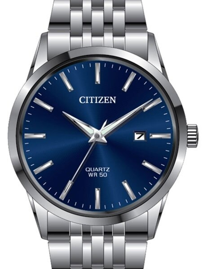 Citizen Quartz Dress Watch with Vibrant Blue Dial and SS Bracelet #BI5000-87L