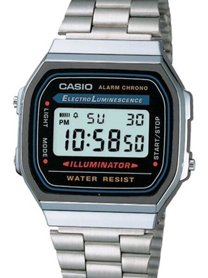 Casio Illuminator Mens Digital Alarm Watch on Stainless Steel Bracelet #A-168WA-1