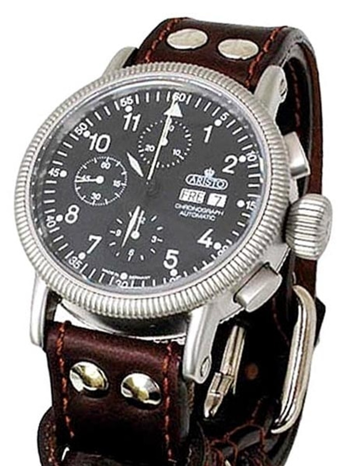 Aristo 3H123 Swiss Valjoux 7750 Automatic Chronograph Aviator Watch