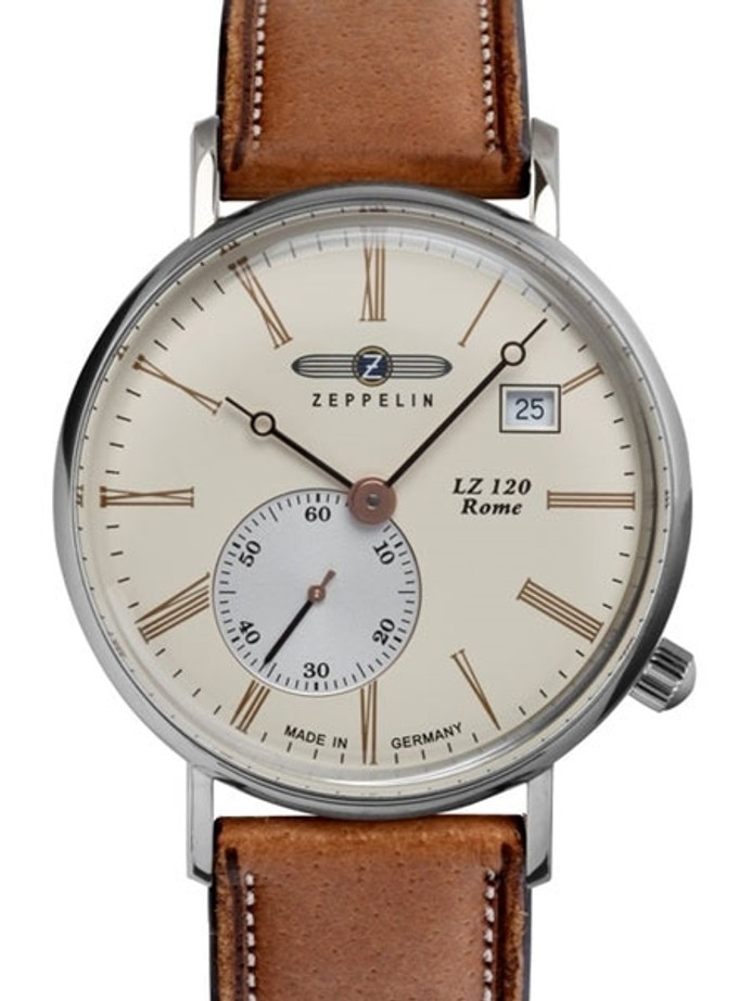 Graf Zeppelin 36mm LZ120 Rome Series Swiss Quartz Dress Watch #7135-5