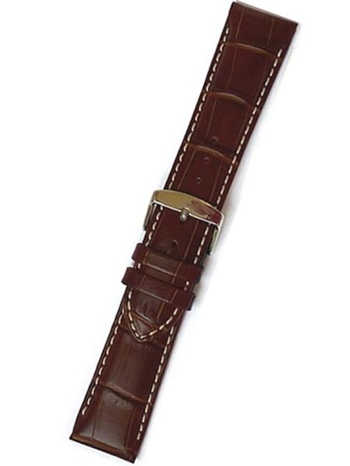 Brown Alligator-Grain Strap with white contrast stitching #RB9-21480