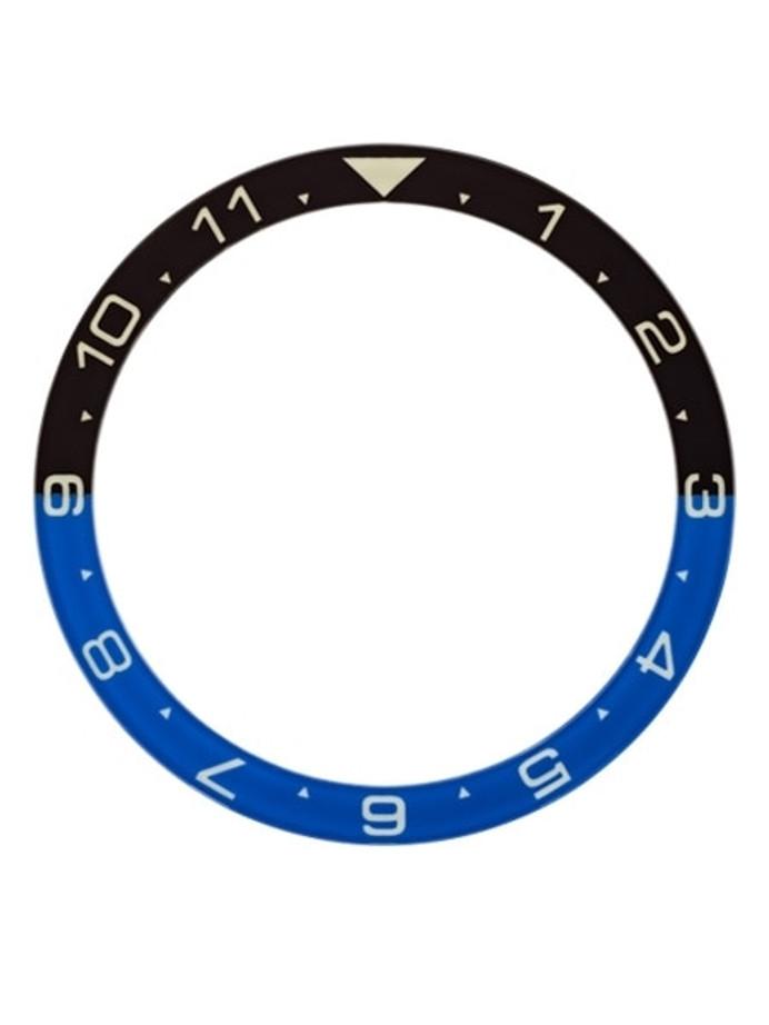 """Batman"" Luminous Sapphire Dual-Time Bezel Insert for Seiko Turtle Watches #C35"