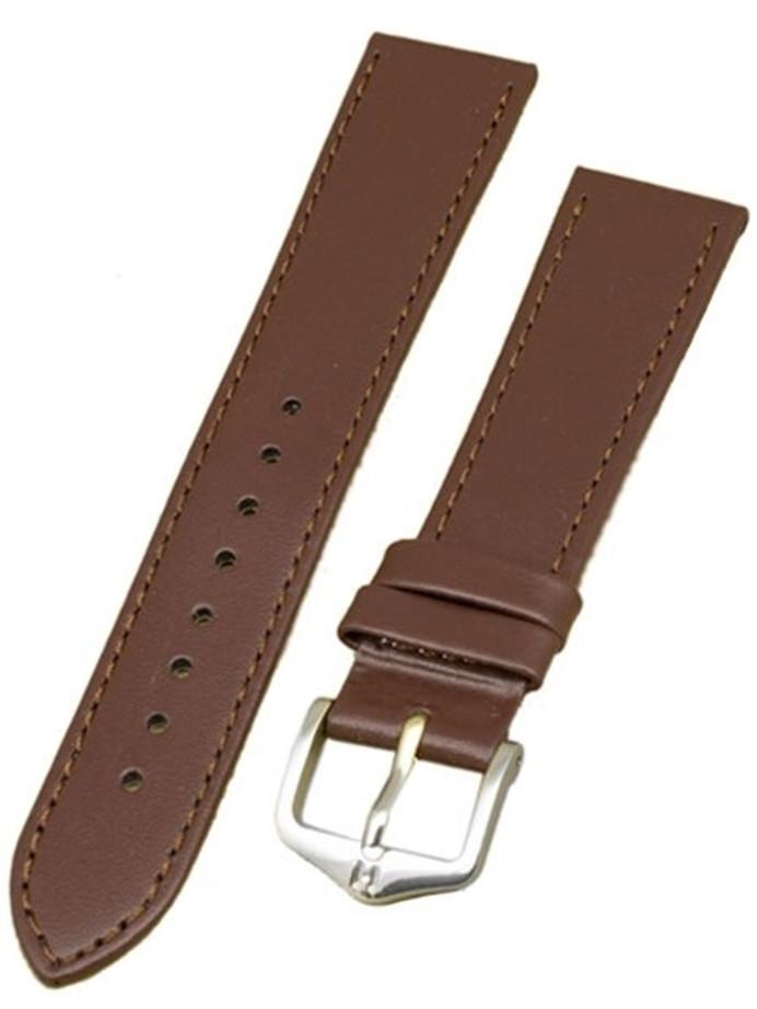Hirsch Umbria Untextured Brown Leather Watch Strap, Matching Stitching #137202-10