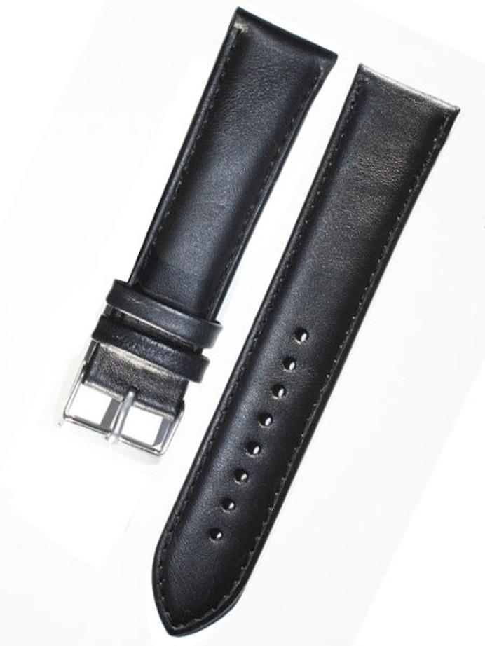 Basic Black Leather Strap with Matching Stitching and Stainless Steel Buckle #WS-S530
