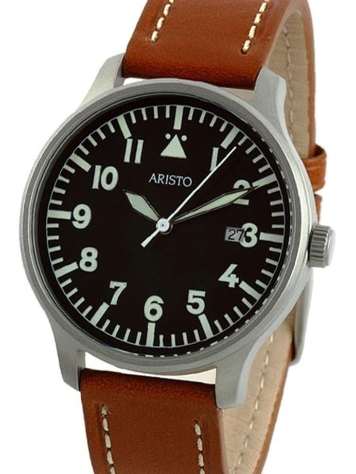 Aristo 3H84 Quartz Aviator Style Watch with Sandblasted Case