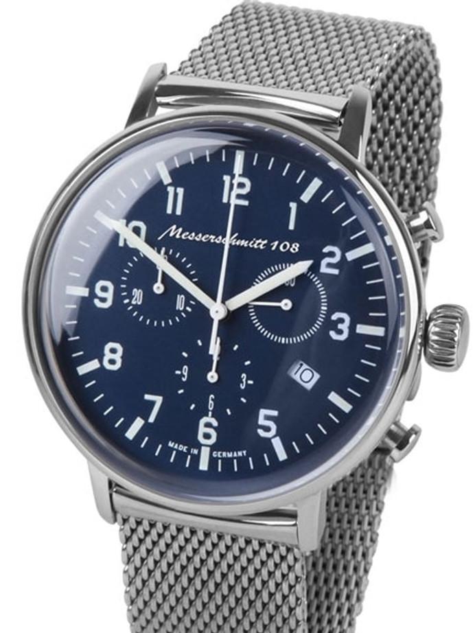 Messerschmitt Bauhaus Swiss Quartz Chronograph Watch on Mesh Bracelet #ME108-80M