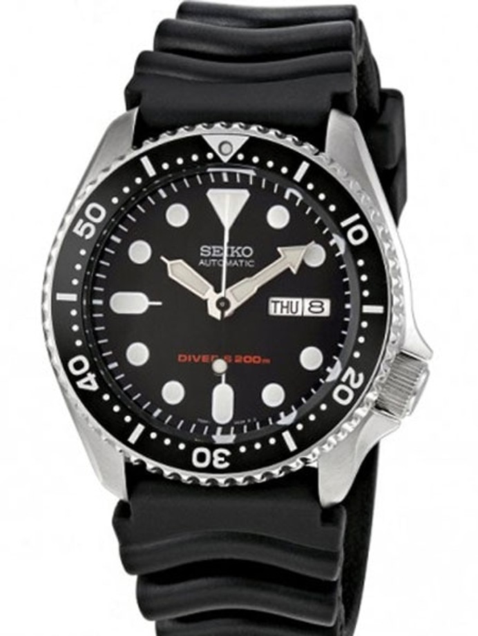 Seiko Automatic Dive Watch with Offset Crown and Rubber Dive Strap #SKX007K1